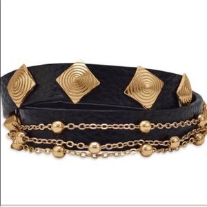Beautiful Black Leather Bracelet Gold Hardware